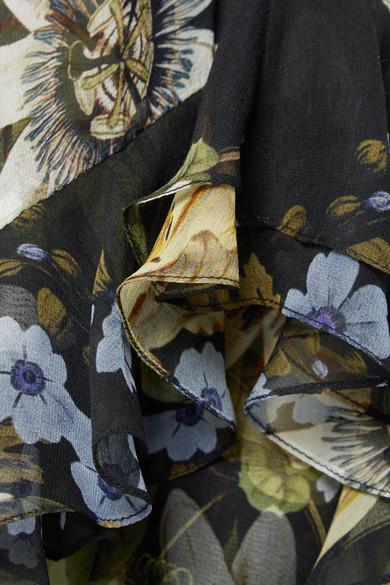 Erdem Elsa asymmetrischer Midirock aus floral bedrucktem Seidenchiffon mit Rüschen