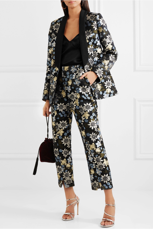 Erdem Anisha floral-jacquard tuxedo jacket