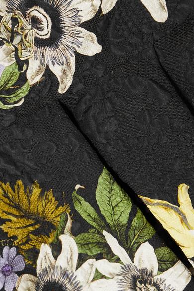 Erdem Queenie Oberteil aus Cloqué mit Blumenprint und Schößchen