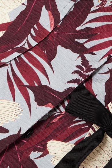 Erdem Azure bedrucktes Wickeloberteil aus Baumwoll-Canvas
