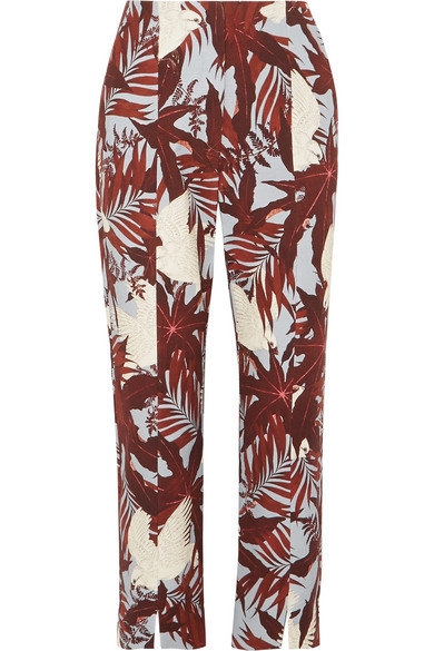Syrah Cropped Printed Cotton-canvas Straight-leg Pants - Burgundy Erdem KIJKf7