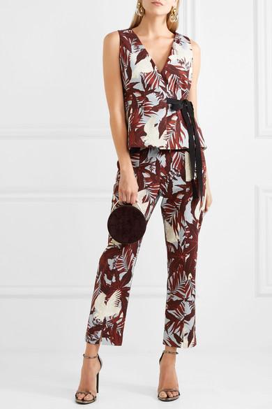Syrah Cropped Printed Cotton-canvas Straight-leg Pants - Burgundy Erdem E9hyZRn