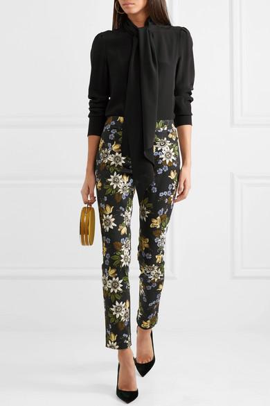 Erdem Sidney Hose mit schmalem Bein aus Stretch-Baumwolle mit Blumenprint