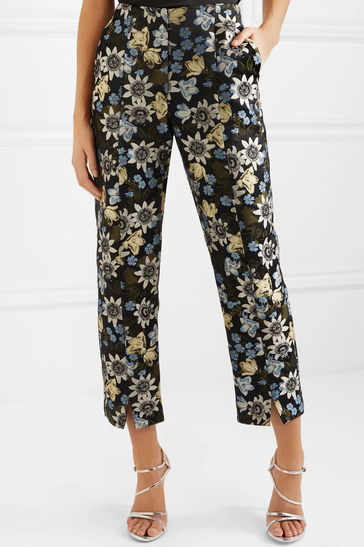 Erdem Syrah cropped floral-jacquard slim-leg pants