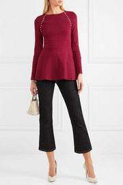 Lela Rose Faux pearl-embellished stretch-knit top