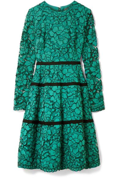Lela Rose - Grosgrain-trimmed Corded Lace Dress - Jade