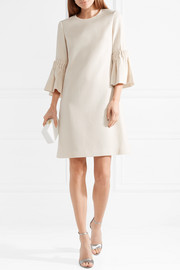 Lela Rose Faux pearl-embellished wool-blend crepe mini dress