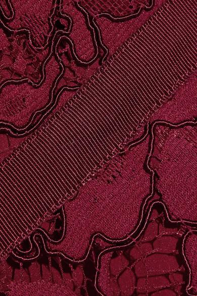 Lela Rose Oberteil aus schnurgebundener Spitze mit Ripsbandbesatz und Schößchen