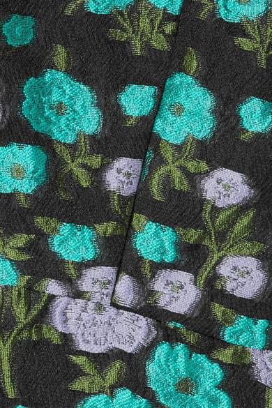 Lela Rose Midikleid aus floralem Jacquard mit Tüllbesatz