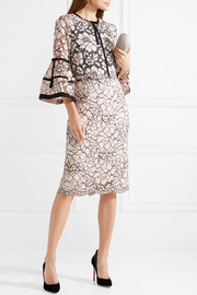 Lela Rose Corded lace midi skirt