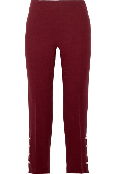 Lela Rose Trousers With Narrow Leg Of Crêpe From A Wool Blend With Artificial Pearls