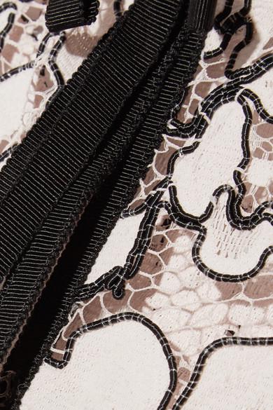 Lela Rose Jacke aus schnurgebundener Spitze mit Ripsbändern