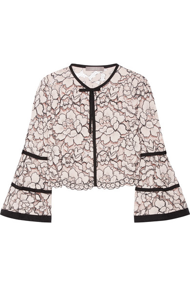 Lela Rose - Grosgrain-trimmed Corded Lace Jacket - Pastel pink