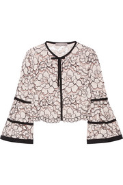 Lela Rose Grosgrain-trimmed corded lace jacket