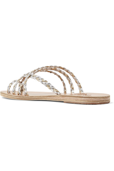 Ancient Greek Sandals Amalia Sandalen aus geflochtenem Metallic-Leder