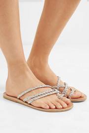 Amalia braided metallic leather sandals