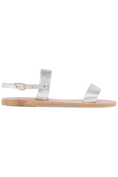 Ancient Greek Sandals strukturiertem | Clio Sandalen aus strukturiertem Sandals Leder in Metallic-Optik d05a0a