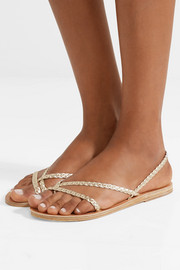 Yianna braided metallic leather sandals