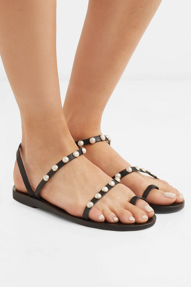 Ancient Greek Sandals Apli Eleftheria Sandals In Leather With Art Beads Ornament