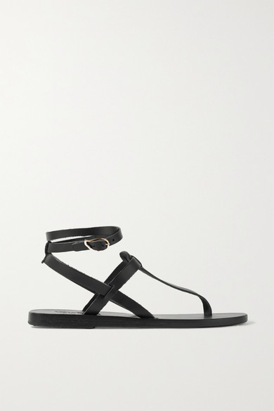 Ancient Greek Sandals - Estia Leather Sandals - Black