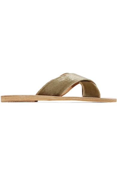 Ancient Pantoletten Greek Sandals | Thais Pantoletten Ancient aus Samt und Leder 8927e8