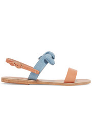 Ancient Greek Sandals Clio bow-embellished denim and leather sandals