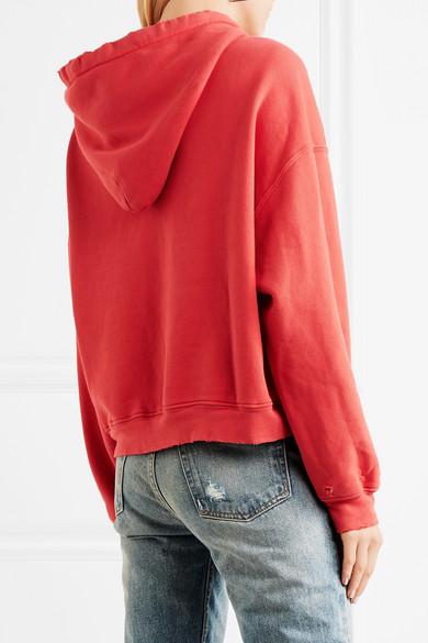RE/DONE Kapuzenoberteil aus Baumwoll-Jersey mit Stretch-Anteil, Distressed-Details und Applikation