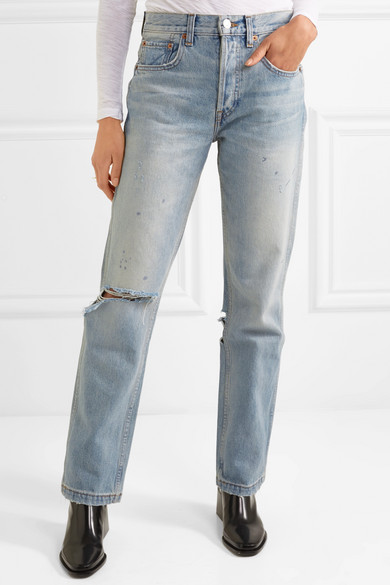 Grunge Distressed High-rise Straight-leg Jeans - Light denim Re/Done