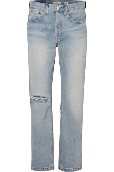 Re/done By Levis Woman Distressed Mid-rise Straight-leg Jeans Light Denim Size 26 Re/Done Pre Order Cheap Online Cheapest uzisNJtT