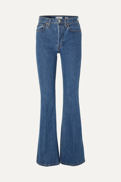 Exact Product: Kaia Gerber Light Blue Denim Jeans Street Style Autumn Winter 2020, Brand: Re-Done, Available on: net-a-porter.com, Price: EUR165