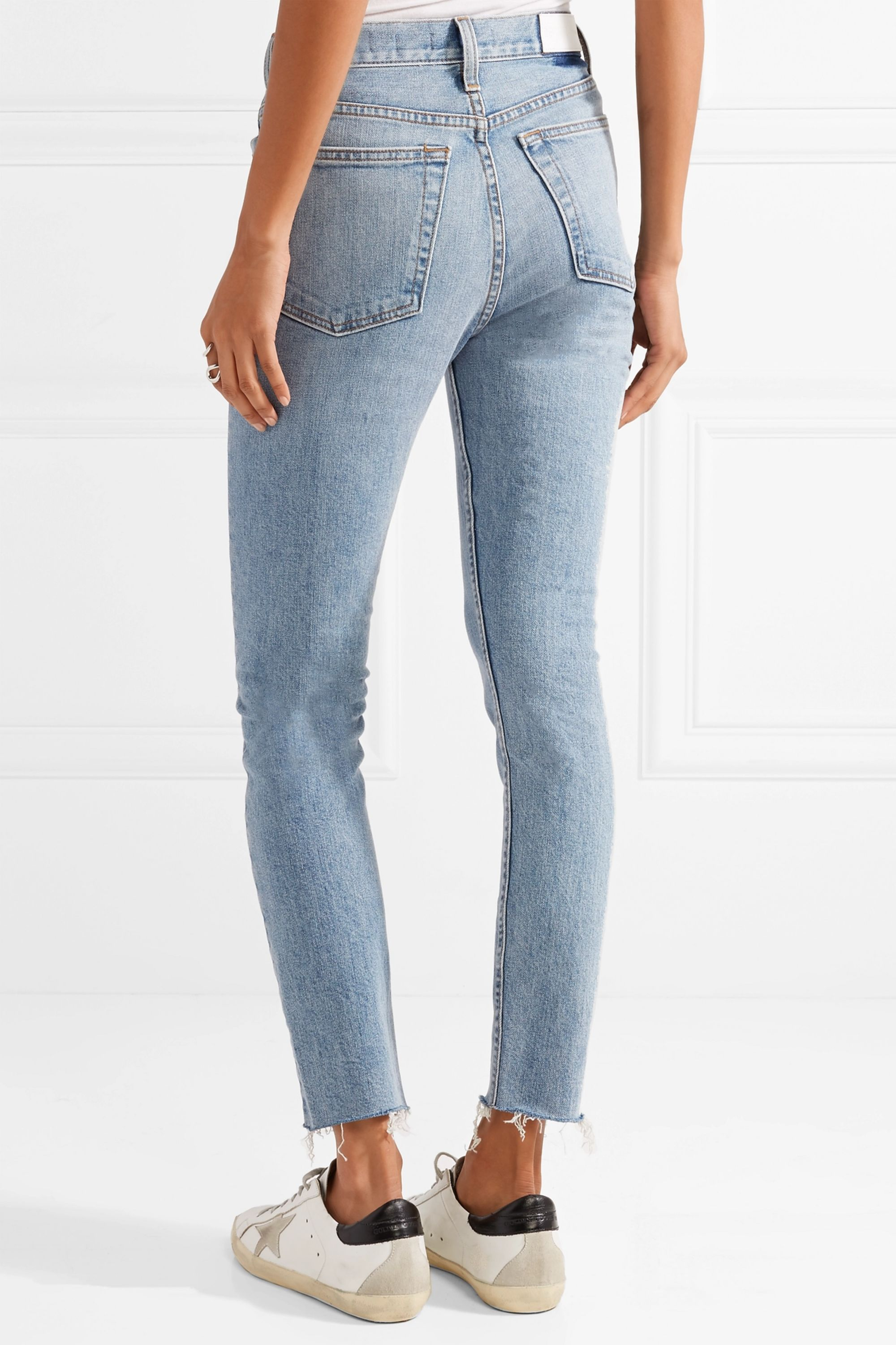 RE/DONE Originals High-Rise Ankle Crop frayed skinny jeans