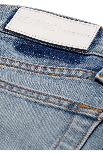 RE/DONE Originals High-Rise Ankle Crop verkürzte Skinny Jeans mit Fransen