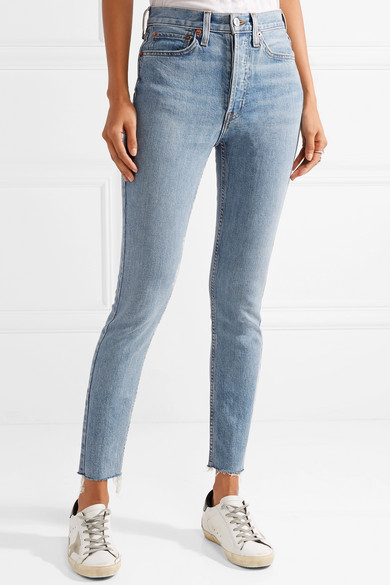 RE/DONE Originals High-Rise Ankle Crop verkürzte Skinny Jeans mit Fransen