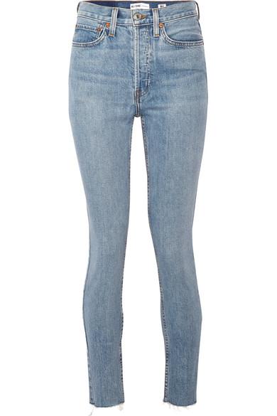 RE/DONE - Originals High-rise Ankle Crop Frayed Skinny Jeans - Light denim at NET-A-PORTER