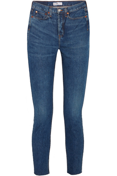 RE/DONE - Originals High-rise Ankle Crop Frayed Skinny Jeans - Mid denim at NET-A-PORTER