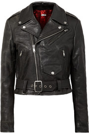 Reconstructed Moto Racer distressed leather biker jacket
