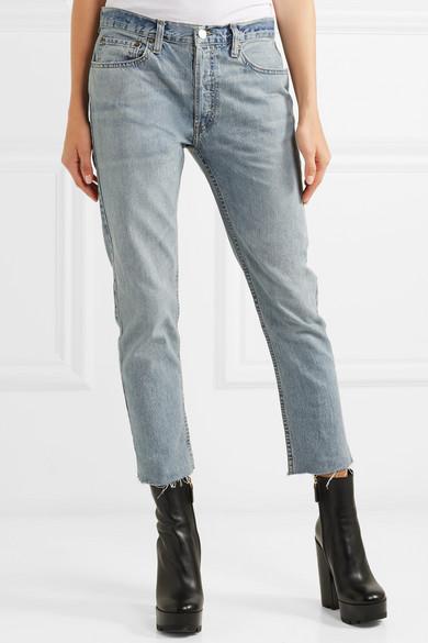RE/DONE Originals Relaxed Crop verkürzte Boyfriend-Jeans mit schmalem Bein und Fransen