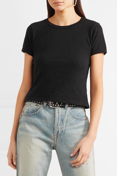 RE/DONE Ringer T-Shirt aus Baumwoll-Jersey mit Flammgarneffekt
