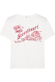 Sweetheart flocked printed cotton-jersey T-shirt