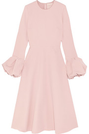 Satin-trimmed crepe midi dress
