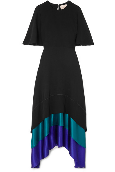 Roksanda - Tiered Paneled Silk Maxi Dress - Black