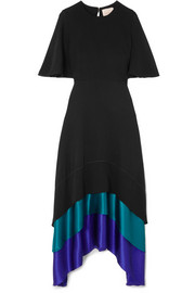 Tiered paneled silk maxi dress