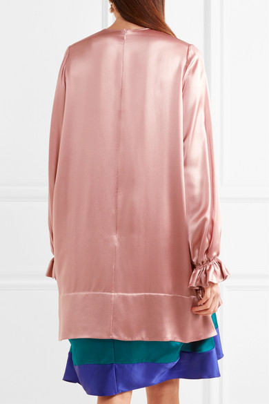 Roksanda Gestuftes Kleid aus Seidensatin in Colour-Block-Optik