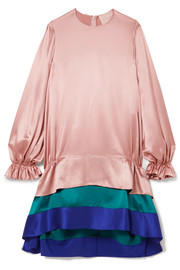 Color-block tiered silk-satin dress