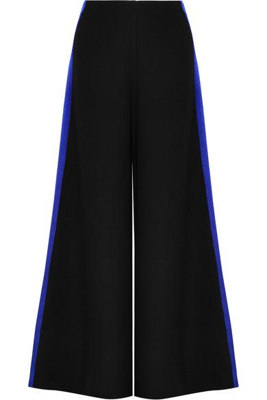 Roksanda Hose mit weitem Bein aus Cady mit Besatz aus gehämmertem Satin