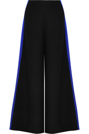 Hammered satin-trimmed cady wide-leg pants