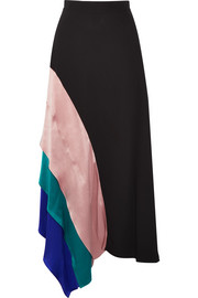 Asymmetric satin-paneled silk midi skirt