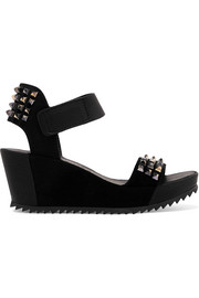 Fortuna stud-embellished leather and suede wedge sandals