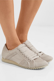 Cristina frayed suede-trimmed satin sneakers