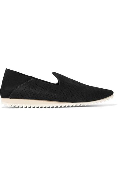 Cristiane Perforated Suede Slip-On Sneakers, Black Castoro
